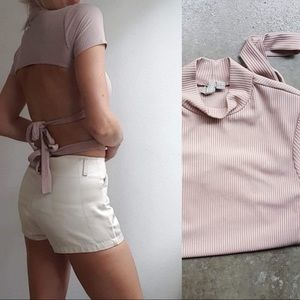Asos dusty pink backless tie up ribbed crop top 2